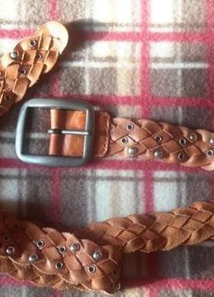 Шикарный, плетеный кожаный пояс