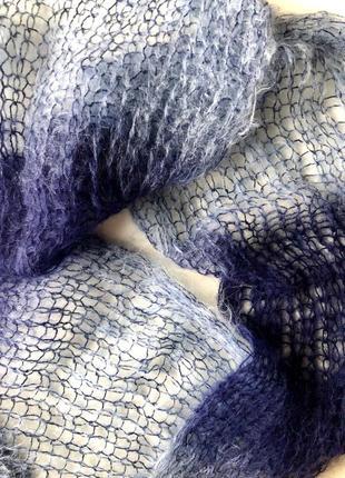 Пушистый шарф - палантин из козьего пуха. длинный шарф.шарфик.палантин.снут.платок.