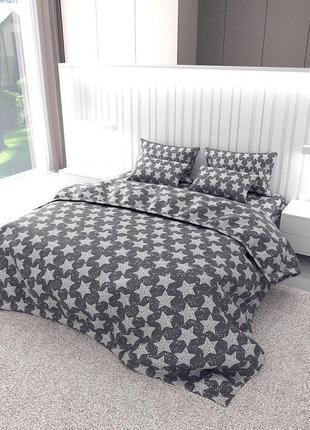 Хлопоковое постельное белье звезды на сером фабричного производства