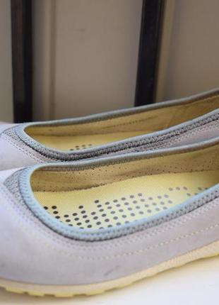Кожаные мокасины туфли балетки лодочки ecco