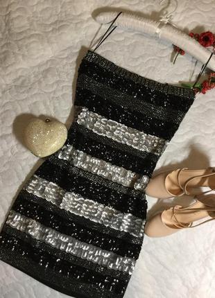 Платье бюстье вечернее в паетки sophyline&co размер s/m