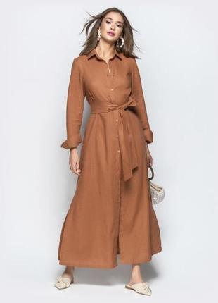 Длинное льняное платье рубашка