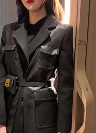 Шикарный комбинированный пиджак с кожей