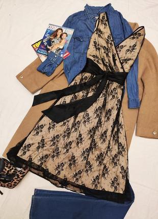 Principles платье миди вечернее коктельное бежевое с атласным чёрным поясом