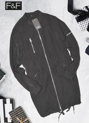 Черная демисезонная куртка бомбер f&f