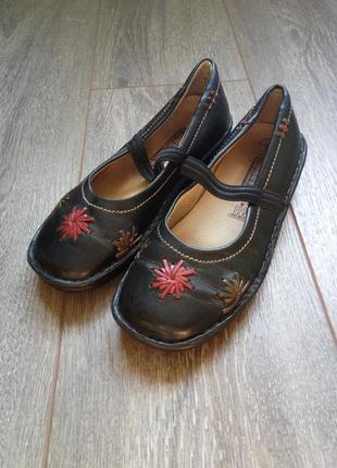 Черные кожаные туфли балетки мокасины тапочки 22.5-23см
