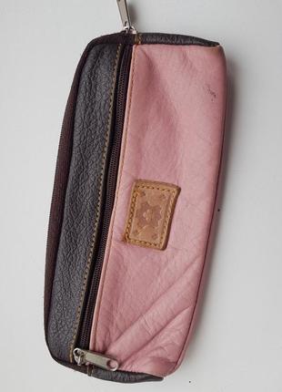 Косметичка пенал натуральная кожа розовая