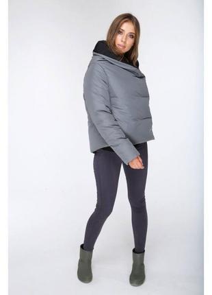Куртка серая евро зима осень короткая marani эксклюзив одеяло авто леди
