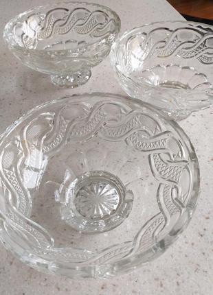 Хрустальные салатницы набор 3 шт