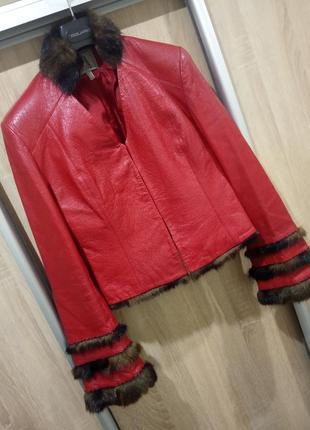 Эксклюзивная дизайнерская курточка натуральная кожа и норка