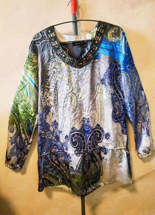 Шелковая туника  passport узор огурцы, 100% шелк, блуза шелк