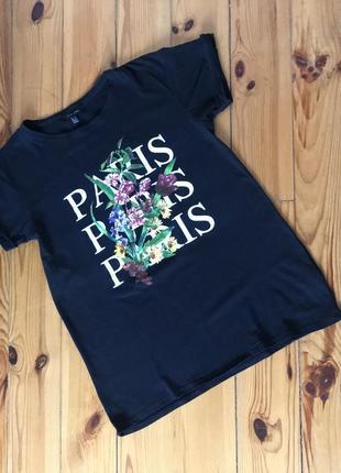 Стильная чёрная футболка с надписью принтом new look. р-р м