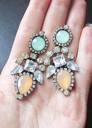 🏵шикарные нарядные серьги в кристаллах, новые! арт.8830