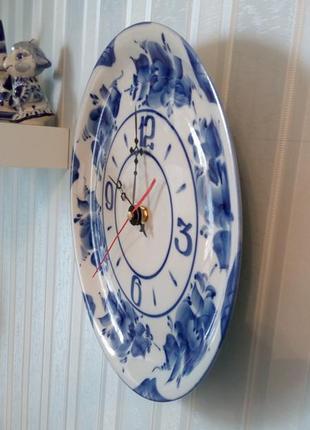 Часы настенные тарелка гжель