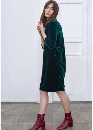 Изумрудное велюровое платье vila размер s
