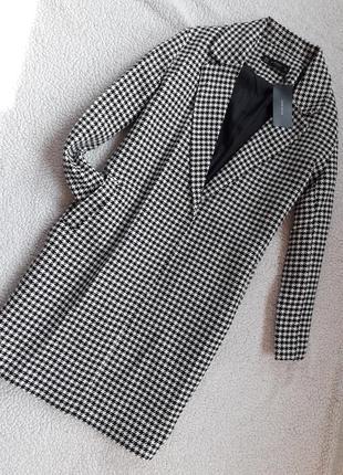 Пальто бойфренд в клетку с карманами