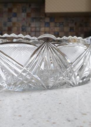 Изысканный хрустальный салатник геометрический узор