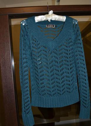 Красивый изумрудный пуловер blend she