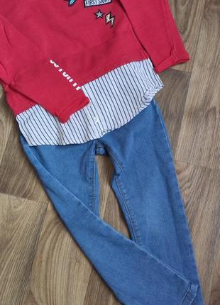 Набор джинсы скинни и кофта-рубашка
