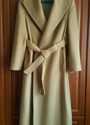 Длинное  пальто-халат jaeger ангора шерсть стиль max mara escada
