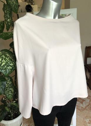 Пудровая блуза необычного фасона s m
