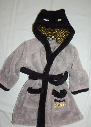 Халат банный плюшевый с капюшоном на мальчика batman на 4-5 лет 104-110см