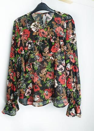 Блуза marks&spencer с оборкой в цветочный принт
