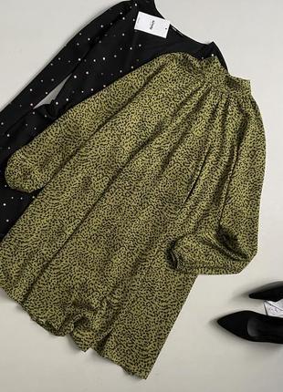 Роскошное платье в анималистический принт с актуальными рукававмиh&m