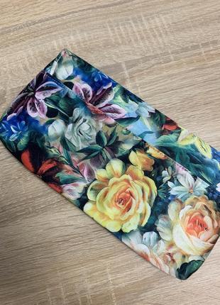Сумка клатч в цветочный принт