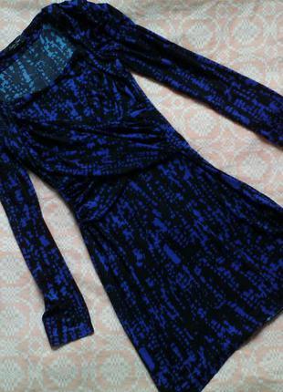 Крутецкое синее трикотажное платье - туника junker