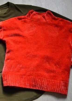 Актуальный суперстильный велюровый свитер f&f