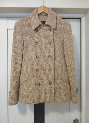 Max mara woolmark пальто твидовое беж шерсть lana демисезонн