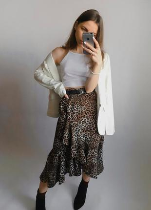 Юбка миди, юбка на запах, юбка с анималистическим принтом