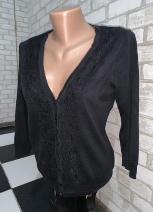 Чёрная ажурная кофточка h&m  made in cambodia  размер м