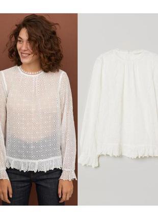 Блуза с вышивкой ришелье m,l,xl