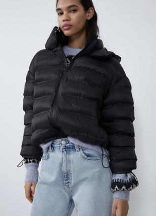 Легкая короткая куртка дутик пуффер zara