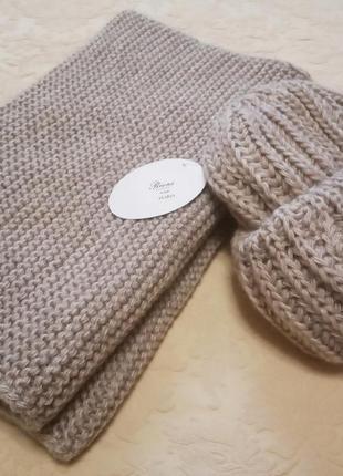 Бежевый комплект, хомут+шапка, вязаный, вязаная