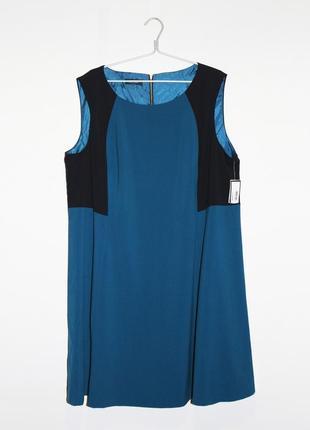 Платье без рукавов синего цвета с черными вставками nine west