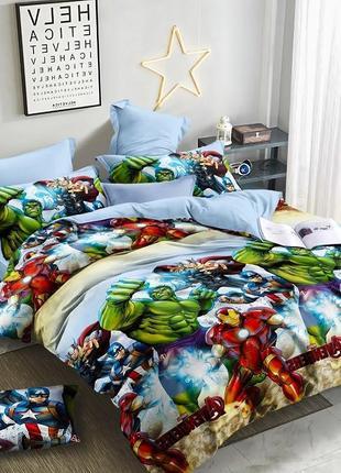 Детское хлопковое полуторное постельное белье мстители