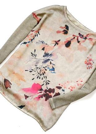 Классный свитшот с цветочным принтом,италия, перед блузочный рукава и спинка трикотаж