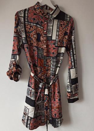 Шикарнейшее платье рубашка блузка оригинальный принт с поясом
