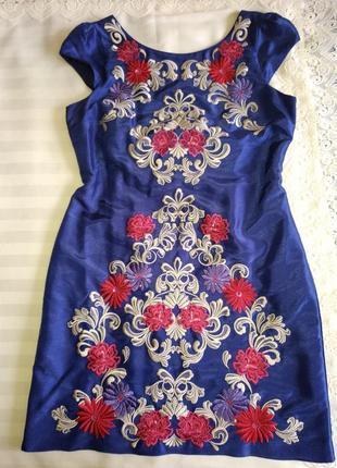 Платье миди с шикарной вышивкой monsoon, uk16/eur44