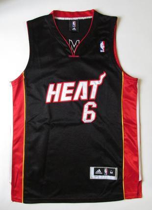 Черная баскетбольная майка miami heat от adidas  леброн джеймс nba