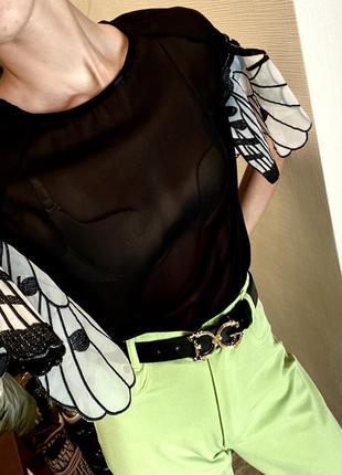 Футболка с крыльями бабочек необычная футболка чёрная футболка красивая блуза с бабочками