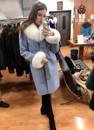 Пальто натуральная шерсть альпаки, мех лисицы