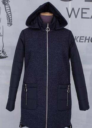 Удлиненное стильное,комбинированное пальто на весну.