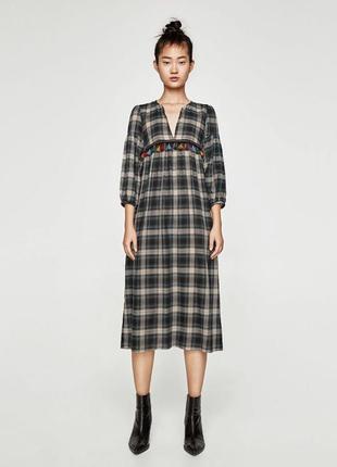 Классное длинное платье в клетку зара м 10 zara