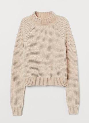 Пудровый велюровый плюшевый свитер h&m