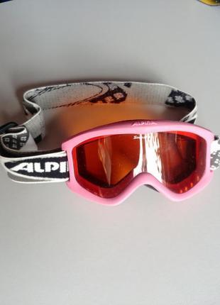 Маска лыжная alpina детская розовая очки
