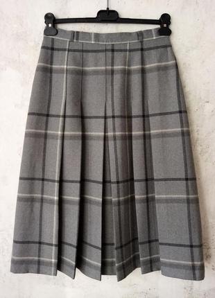 Винтажная шерстяная юбка в складу, миди, клетка, woolmark